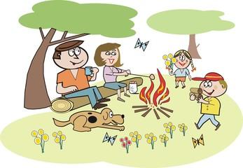 Family recreation cartoon