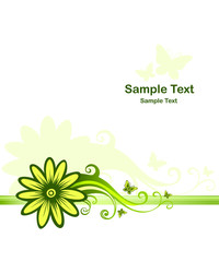 Background with green floral design element
