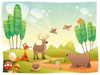 Photo sur Plexiglas Monde magique Animals in the wood. Funny cartoon and vector illustration