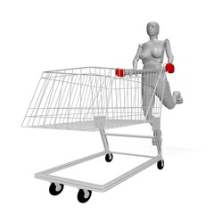 naked female android with shopping cart