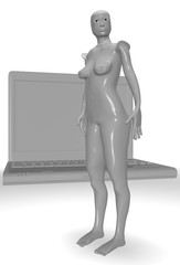 naked female android with laptop