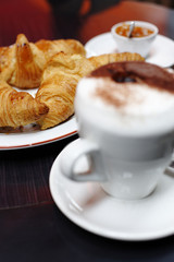 Croissants and cappuccino