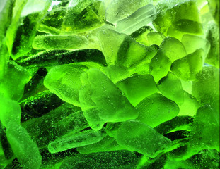 Abstract green ice with bubbles