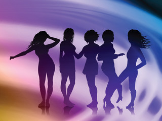 Women on Abstract Liquid Wave Background