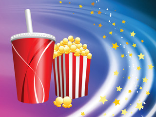 Popcorn and Soda on Abstract Liquid Wave Background