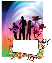 Live Music Band on Abstract Liquid Wave Background