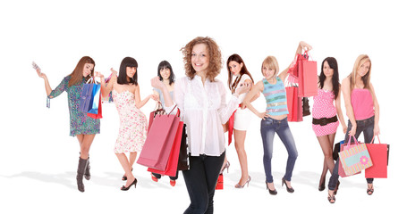 Shopping woman smiling