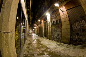 Barcelona's gothic quarter - Freneria street at night-time