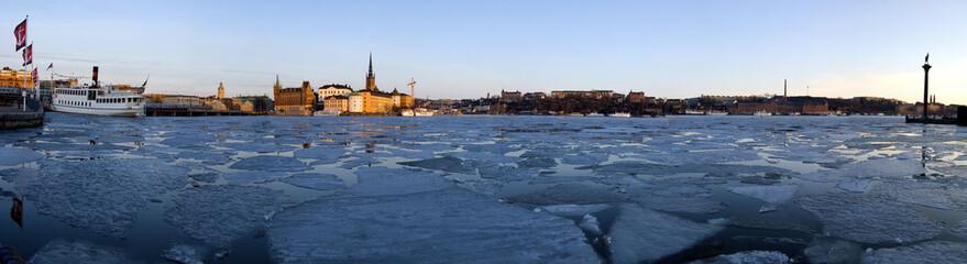 Panorama de l'hôtel de ville de Stockholm en hiver
