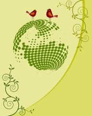 Card design Bird on Globe