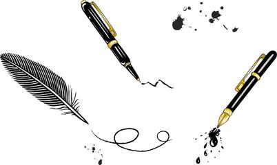 Füller, Schreibfeder, Stift, gold, schwarz, Set