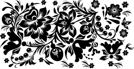 black design with berries and flowers