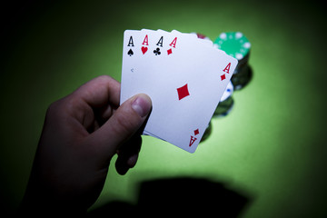 Playing cards in casino
