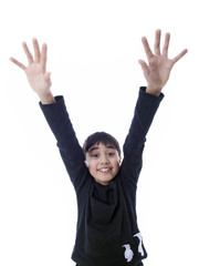 smiling boy with stretched arms & open hands