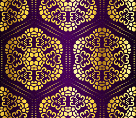 Purple and gold seamless honeycomb arabesque