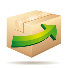 Delivery icon with cardboard and green arrow