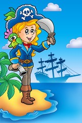 Fotorolgordijn Piraten Pretty pirate girl on island