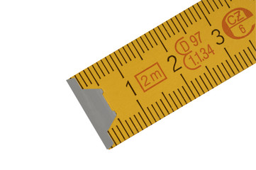 yellow carpenter's rule with centimeters numbers.