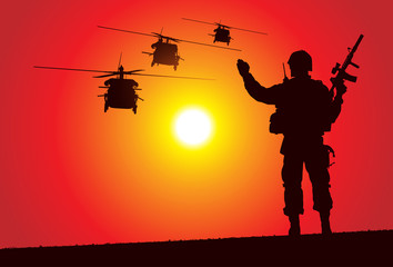 Keuken foto achterwand Militair Silhouette of a soldier with helicopters on the background