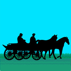 Horse car with people