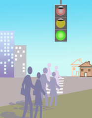 Transition of street to green light of a traffic light