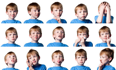 Child with many expressions