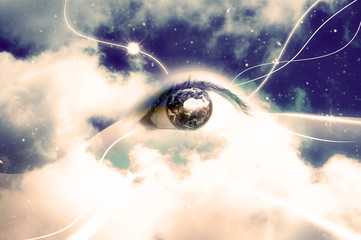 occhio, cielo e nuvole