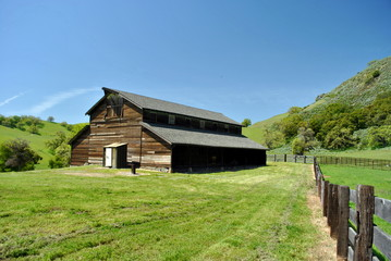 Barn on the hilly ranch