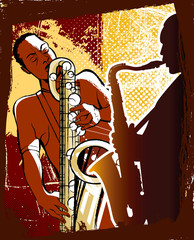 Wall Mural - saxophonists on a grunge background