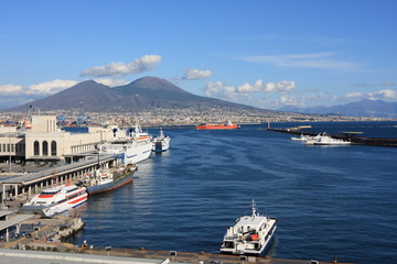 Santa Lucia Harbour and volcano Vesuvius in Napoli