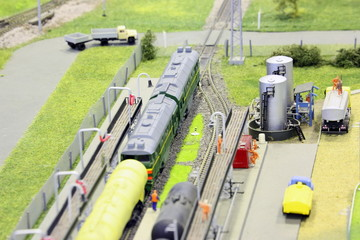 model of railroad station. railroad, trains and constructions