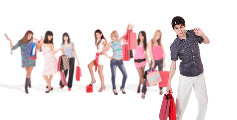 Shopping man with group of girls
