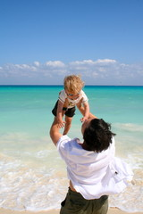 Father and Child at the beach - Playa del Carmen, Mexico