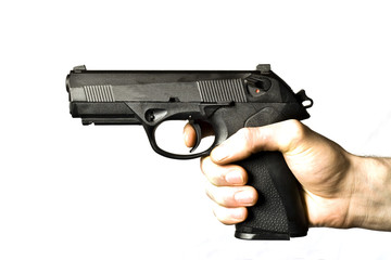 Man firing a .45 caliber pistol isolated on white