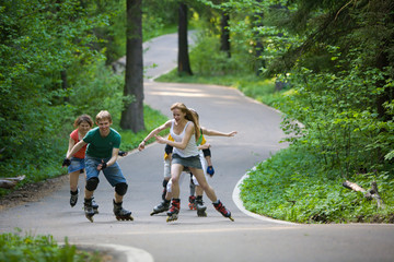 People skating at park