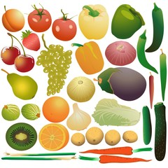 Fruits, vegetables and berries set