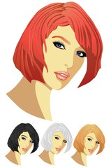 The beauty, four variants of a hair colour