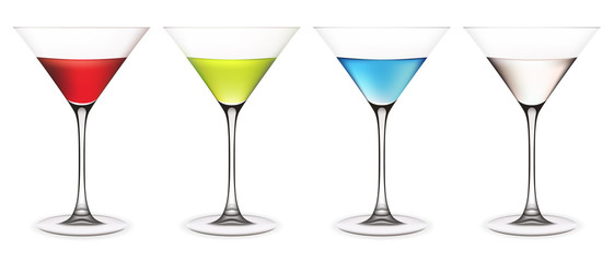 Set of martini glasses. Vector illustration. Contains mesh.
