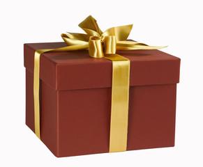 rote Geschenkbox,mit goldener Schleife,isoliert mit pfad