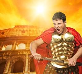 Spoed Foto op Canvas Ridders Roman legionary soldier in front of coliseum