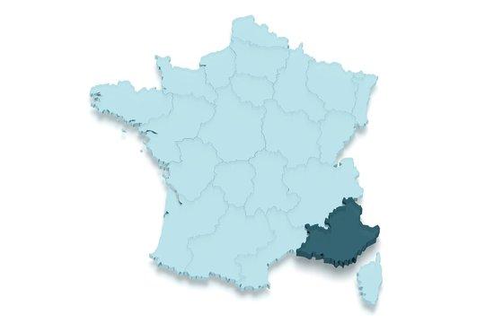 région paca : provence alpes côte d'azur 3D détouré fond blanc