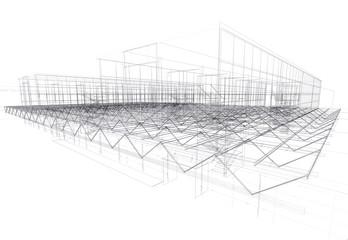 Modern architecture house, roof girder
