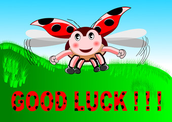 Vector illustration of flying ladybird that says good luck