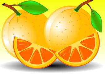 Vector illustration background of orange and slice