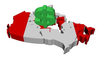 Canada map flag with dollar symbol illustration