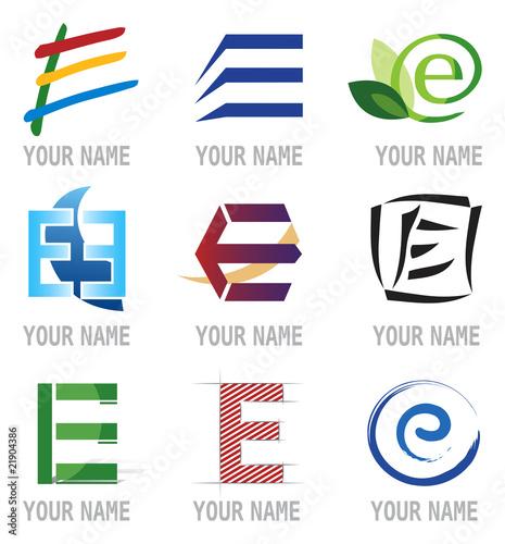 """""""Ensemble D'Icones Lettre E Pour Design Logos"""" Fichier"""