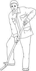 vector - A young man working with a shovel