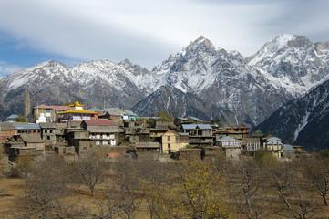 Village typique de l'himalaya