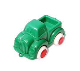 Green car isolated on the white