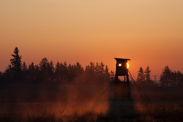 Hunter Tower At Sunset